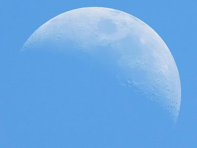 青空の月(月齢5.4)